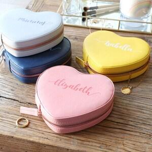 Pink Personalised Constellation Heart Travel Jewellery Case Yellow Birthday Grey