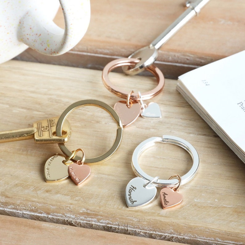Personalised Double Heart Charm Keyring