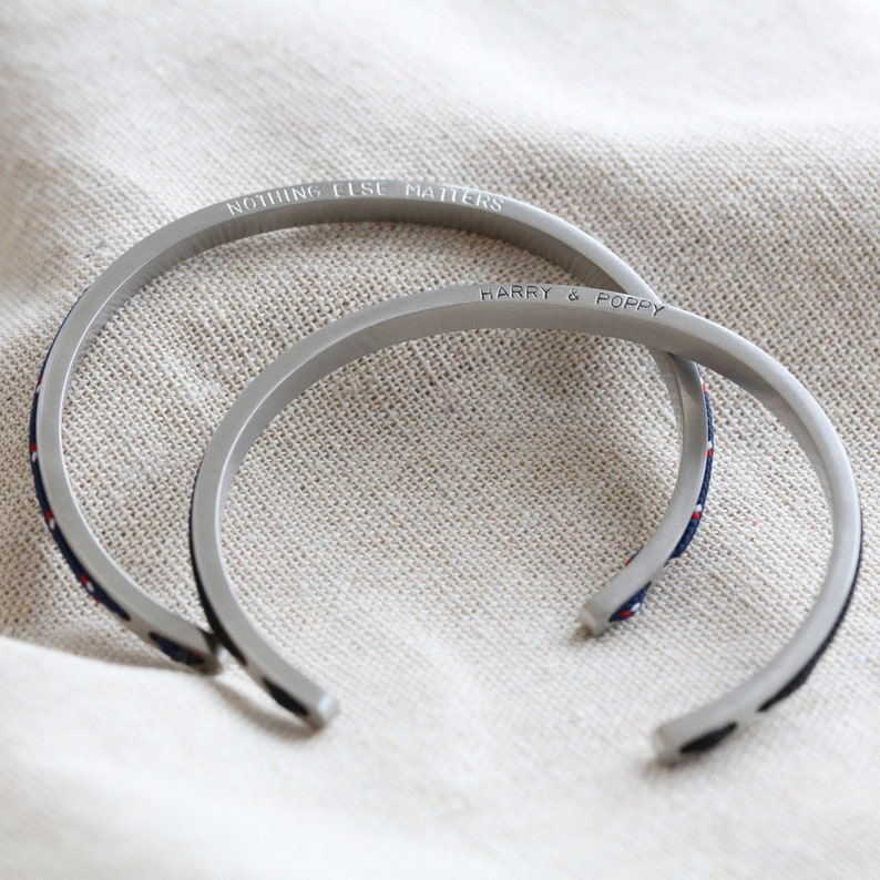 Men/'s Personalised Stainless Steel and Cord Bangle