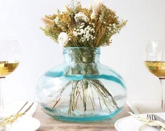 Short Round Recycled Glass Vase, H22cm