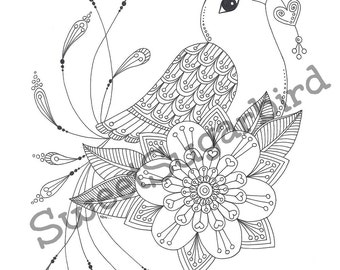 Love Bird No. 2 - Hand Drawn Colouring Page