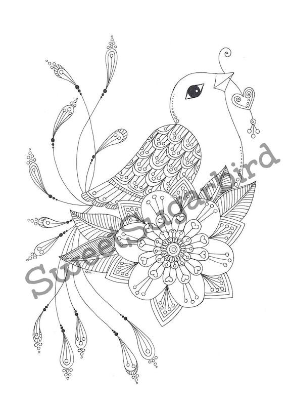 Amo ave no. 2 dibujado a mano colorante página | Etsy