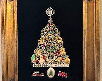 Framed Christmas Tree Art Made With Vintage Costume Jewelry Etsy