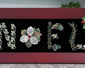 "Vintage & Costume Jewelry Framed ""NOEL"" original one of a kind"