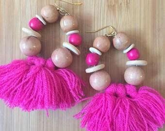 Bead and tassel fringe hoop earrings