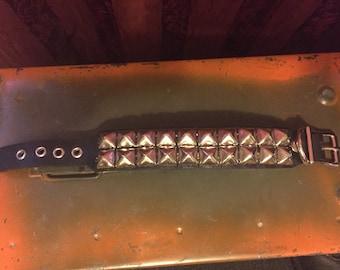 Two row pyramid studded punk bracelet