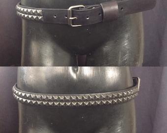 Two row black pyramid studded belt