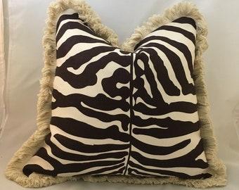 "20"" Scalamandre Savannah Brown Linen Designer Accent Pillow with Brush Fringe"