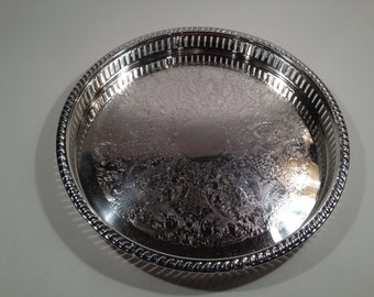 Vintage F.B. Rogers Silver Beverage Serving Tray From The 1960's