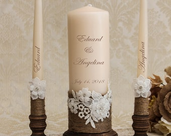 Burlap Unity candles white OR ivory Rustic Country Candle Burlap wedding candles Burlap /& Lace unity wedding candle set of 3 candles for Western Wedding