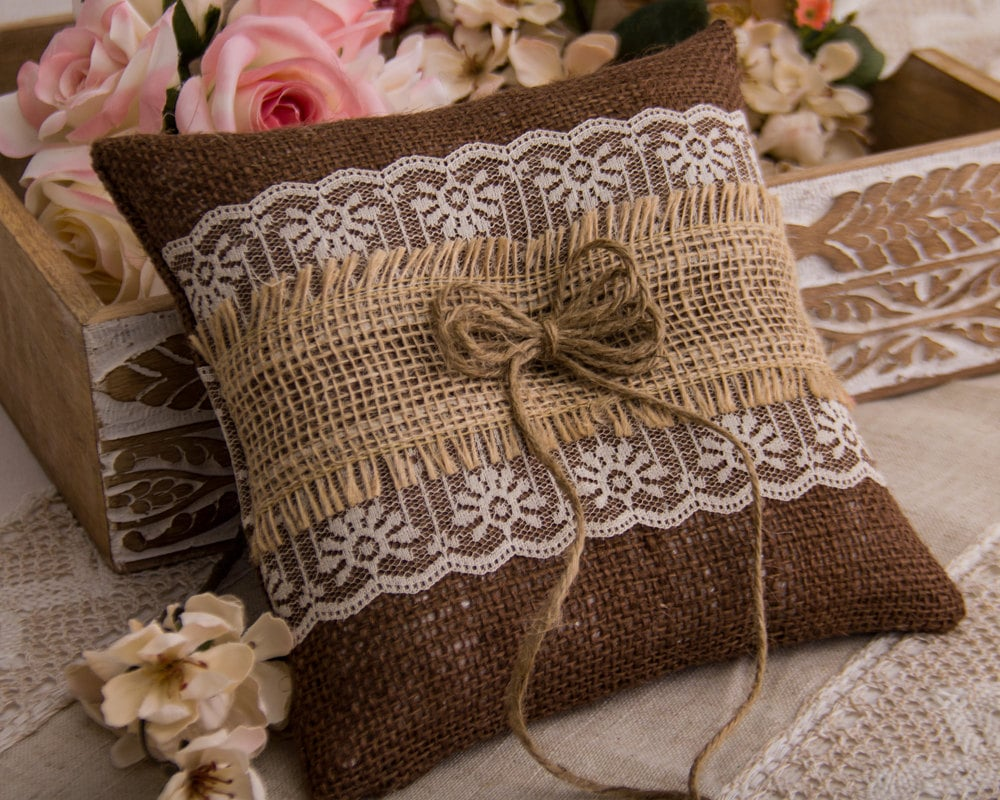 50: Wedding Burlap And Lace Ring Pillow At Websimilar.org