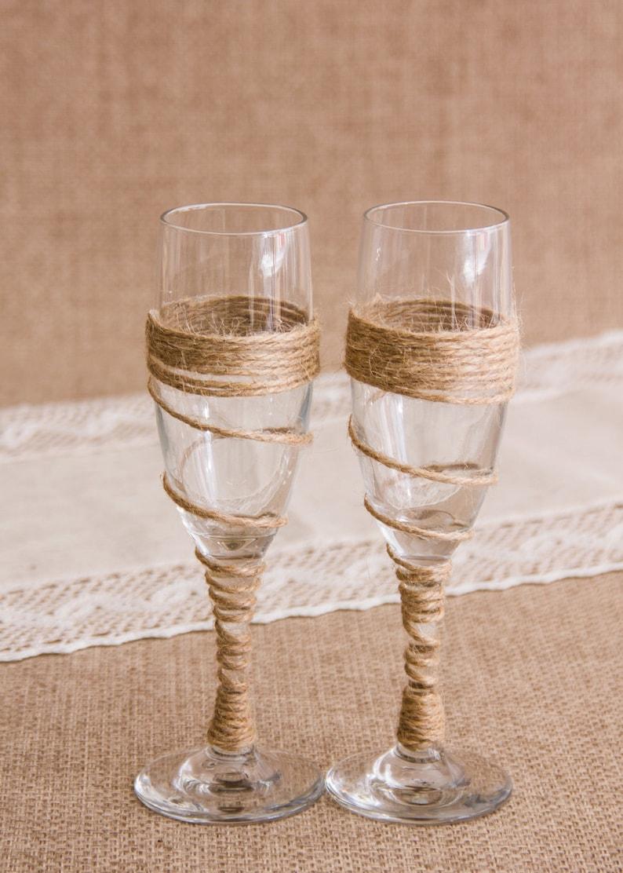 Rustic Wedding Toasting Glasses Twine Wedding Champagne Flutes Twine Champagne Glasses Ristic Bride and Groom Wedding Glasses