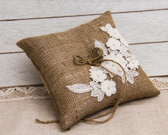 Beautiful Burlap Wedding Ring Bearer pillow for your rustic Wedding
