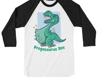 739c77c629b1a Pregosaurus shirt. Pregnancy announcement shirt. Pregnancy dino. Reveal  Pregnancy. Pregnant dinosaur 3/4 sleeve raglan shirt