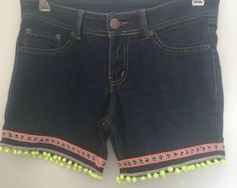 Upcycled embellished denim shorts