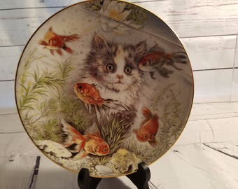Kitten Encounters 1986 Vtg. Plate Royal Worcester Fishful Thinking Pam Cooper