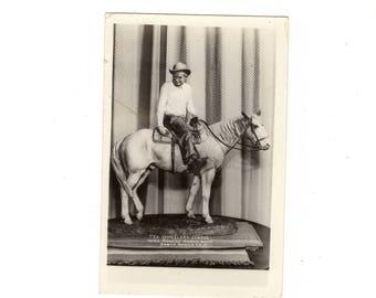 Vintage rppc photo of handmade Will Roger's statue