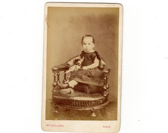 girl with toy horse English cdv photo