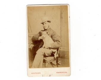 English cdv photo of man in top hat with dog