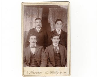 Antique at home group cabinet card photo of four men