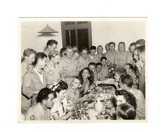 Group dining, vintage ww2 snapshot