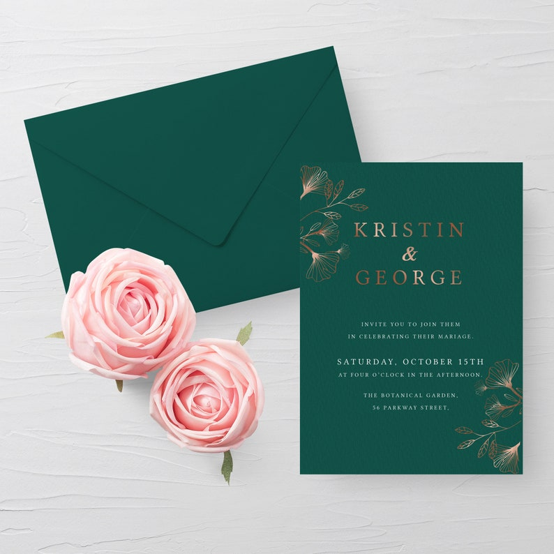 Emerald Green And Rose Gold Wedding Invitation Template