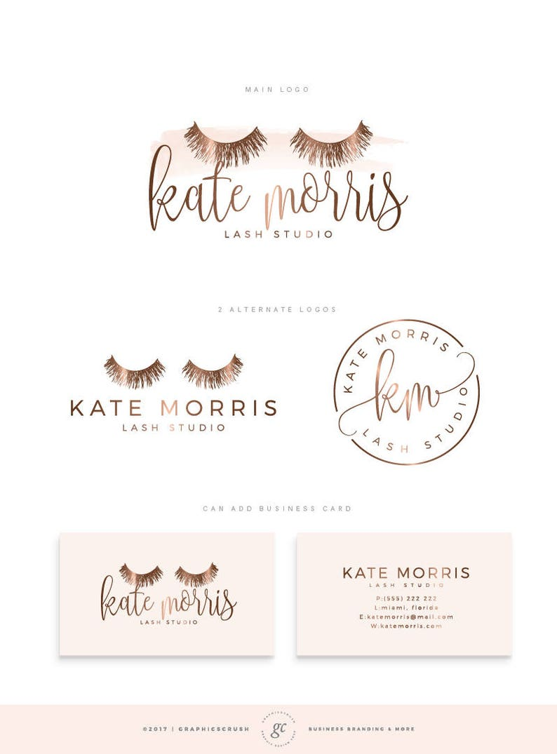 Lash Logo Design Eyelashes Logo Rose Gold Logo Eyelash Extension Logo  Makeup Logo Makeup Artist