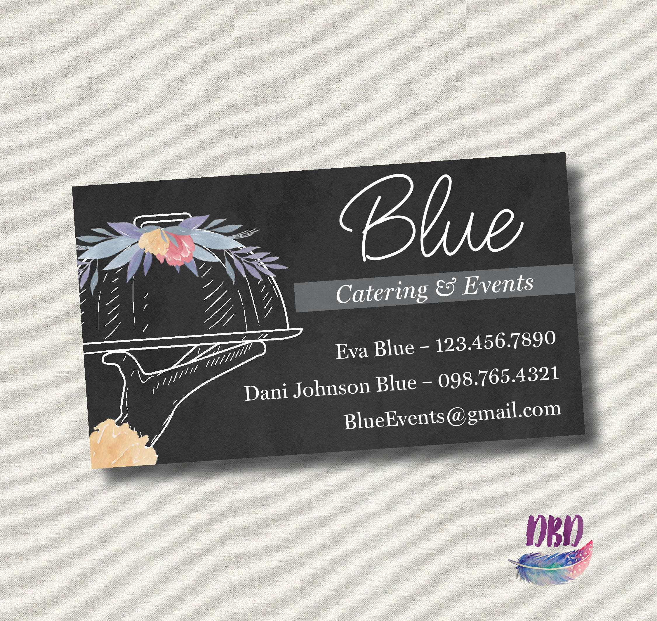 catering business card floral chalkboard printable digital