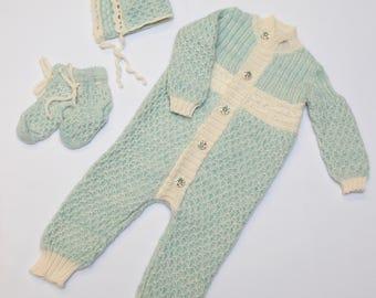 Knitted Baby Romper Set, Newborn Pram Suit, Knitwear for babies