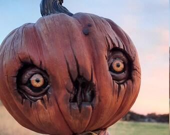 Silent Jay-Artdoll- Pumpkin-Fantasy creature-OOAK doll-handmade-sculpt-art doll-magical-Halloween-sculpture-oddities-Froud-Goblin-horror