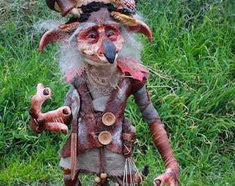 Big Goblin-Micoelius Funghini-Artdoll,mushroom,Ooak,Limited edition, creature, cryptid, Sculpture, Froud, oddities, fairy,Labyrinth, odd