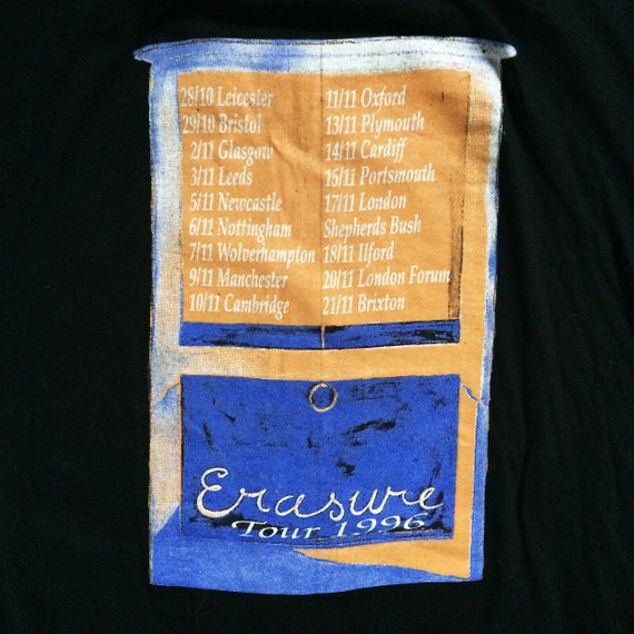 Very rare 1996 Erasure tour t shirt Extra Large Andy Bell Vince Clark 90's  synth pop band shirt