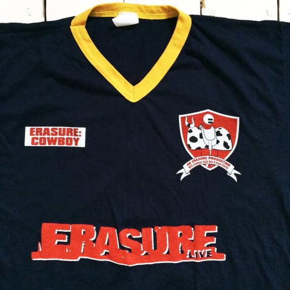 90's extremely rare Erasure Cowboy Large tour t shirt Andy Bell Vince Clark  90's synth pop band shirt