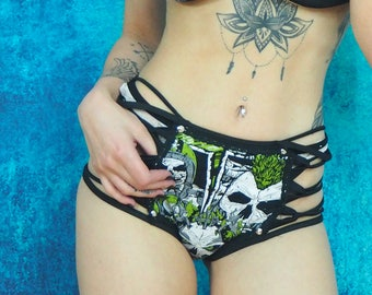 Demon Skull Strappy Bikini BOTTOMS Alternative Hot Pants Skimpy Gogo Shorts Goth Underwear Lingerie Open Sides Sexy Stripper Pole Dance XS