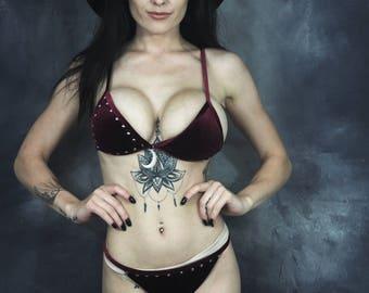 Open Bra Half Cup Bondage Harness Kinky Fetish Black Bralette Harness Lingerie Goth Underwear Cage Bra Wicca Witch Gothic Occult Demi Bra OS