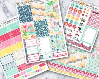 MINI Weekly Kit / Summertime Vibes / Planner Stickers / Fits Erin Condren Vertical & MAMBI / Hand Drawn / Watercolor