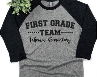 d382c361e First grade team, Custom shirt, teacher, First grade squad, Teacher shirt,  first grade, teacher gift, gift ideas, baseball shirt