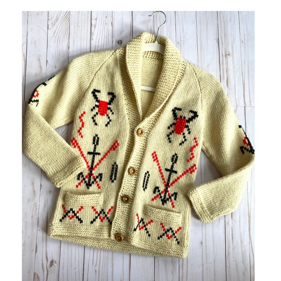 Vintage Cowichan Indian Wool Cardigan - Rare, Hand