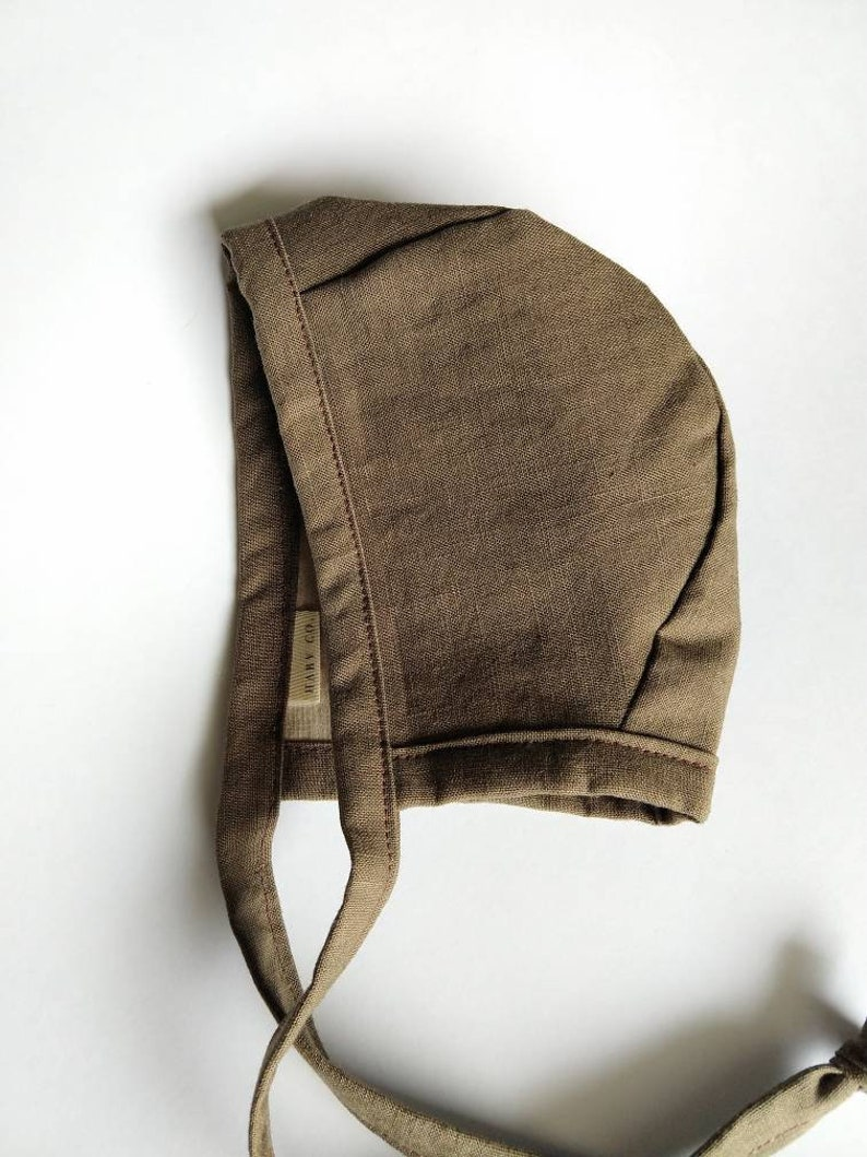 Repurposed Taupe Baby Boy Spring Bonnet