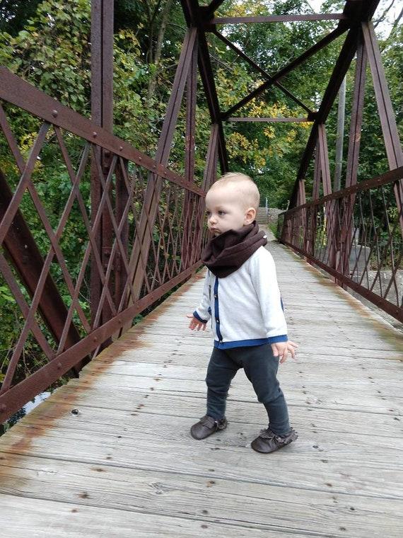 173846f619ba Chocolate Herringbone Infinity Loop Toddler and Baby Boy Scarf