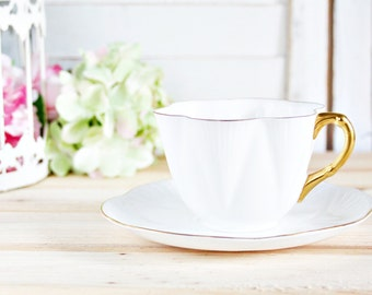 Vintage Shelley Dainty White Teacup and Saucer: English Teacup, White Teacup, Tea Party Teacup, Vintage Teacup, Shelley China