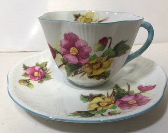 """Shelley Dainty """"Begonia"""" Cup & Saucer - Beautiful condition! Vintage , Floral Pattern,  Shelley China"""
