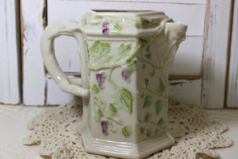 Belleek Pitcher, Grape Vine Ivy Collectors Bucchas, ivory glaze with hand  painted grapevines,Vintage , Bacchus face as the spout SUPERB