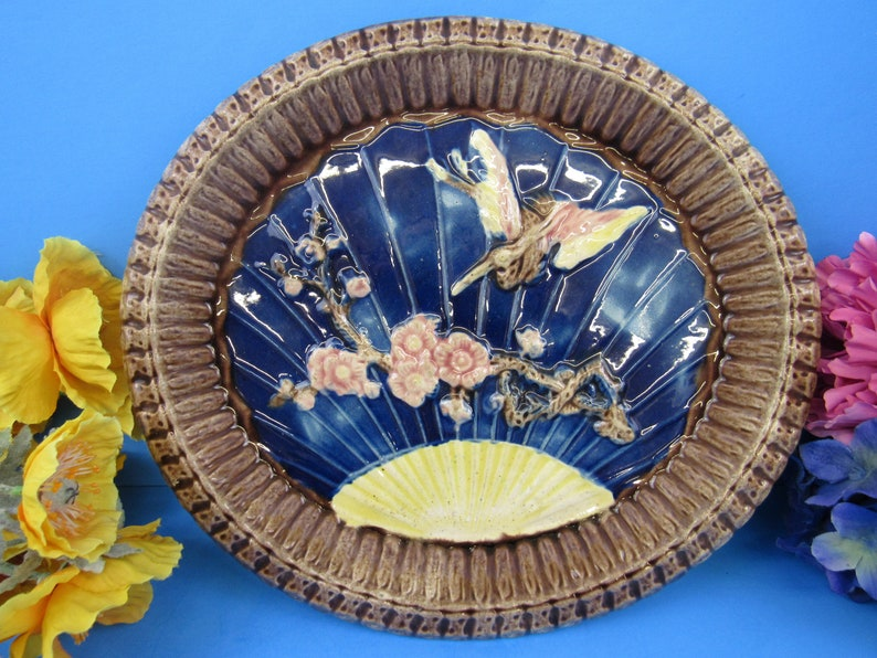 Sun Floral and a Diving Bird Vintage  Majolica Oval Platter ot Serving Dish 11-14 long 10-14 wide and 1-12 Deep Brown Ribbed Bowl