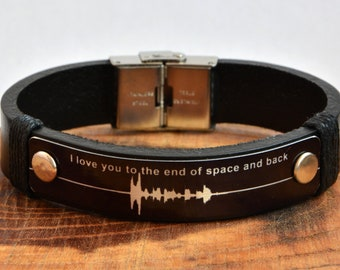 Special Gift Leather Bracelet Mens Gift Womens Gift Couples Bracelet Voice Recording Sound Bracelet Anniversary Gift Memorial Gift