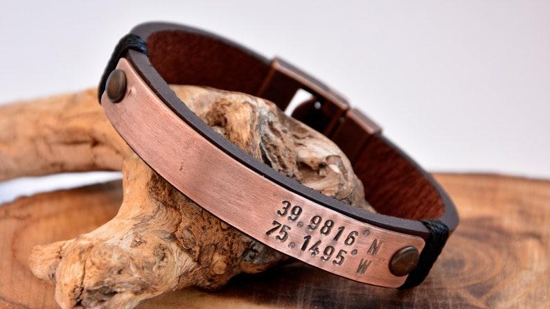 Coordinate Bracelet Men/'s Customized Copper Bracelet Personalized Men/'s Bracelet Anniversary Men Custom Men Bracelet For Him Coordinate Gift