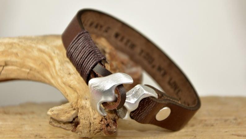 Anchor Bracelet Men Leather Bracelet Gift For Him Husband Gift For Men Hidden Message Men Bracelet For Dady Bracelet Father/'s Day Bracelet
