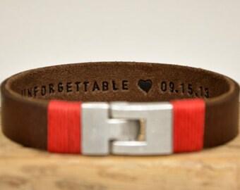 Hidden Message Mens Bracelet Valentine's Day Gift Hand Stamped Bracelet Mens Brown Leather Bracelet Men Engraving Bracelet For Him  Bracelet
