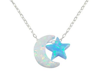 Moon and Star Necklace Opal Pendant Charm I Love You To The Moon And Back Necklace Sterling Silver Jewelry Charms
