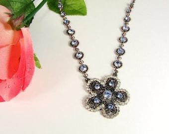Blue Flower Necklace, Floral Necklace, CZ Necklace, Floral Pendant, Floral Jewelry, CZ Beaded Flower Vintage Necklace Bronze Tone
